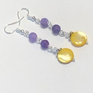 Purple Agate & Yellow Mother of Pearl Earrings